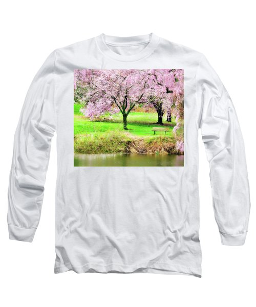 Long Sleeve T-Shirt featuring the photograph Empty Bench Surrounded By Spring Colors by Gary Slawsky
