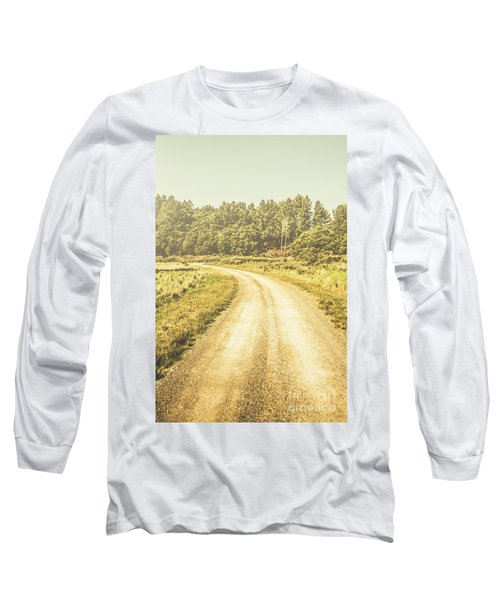Empty Curved Gravel Road In Tasmania, Australia Long Sleeve T-Shirt