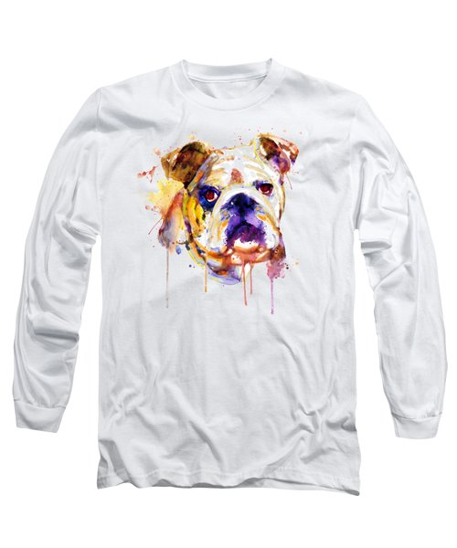 English Bulldog Head Long Sleeve T-Shirt by Marian Voicu