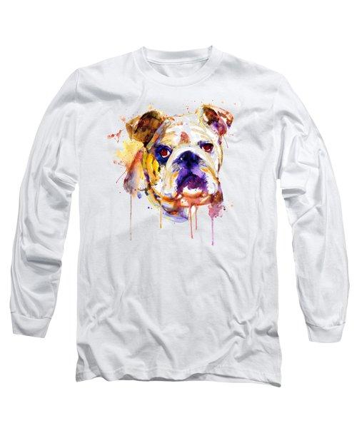 Long Sleeve T-Shirt featuring the mixed media English Bulldog Head by Marian Voicu