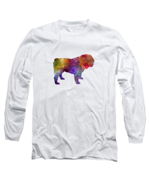 English Bulldog In Watercolor Long Sleeve T-Shirt