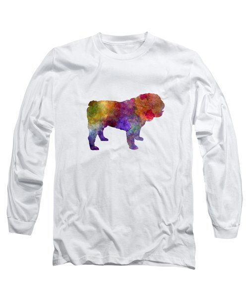 English Bulldog In Watercolor Long Sleeve T-Shirt