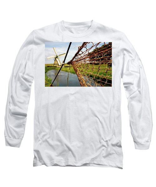 Long Sleeve T-Shirt featuring the photograph Enkhuizen Windmill And Nets by KG Thienemann