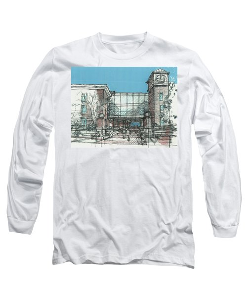 Long Sleeve T-Shirt featuring the drawing Entry Plaza by Andrew Drozdowicz