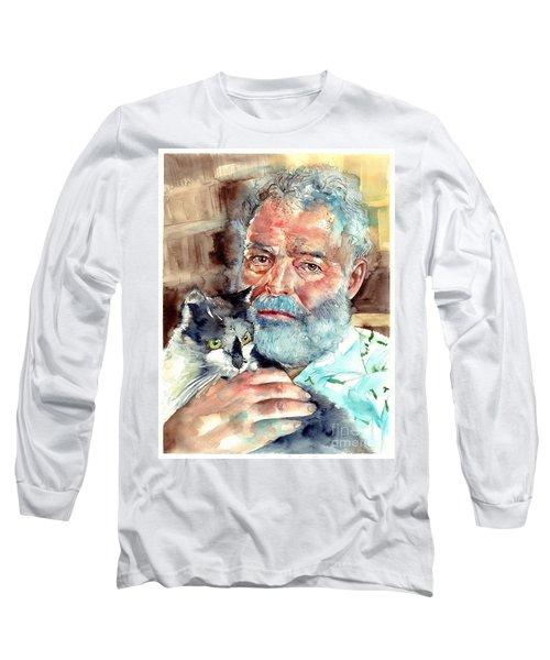 Ernest Hemingway Watercolor Long Sleeve T-Shirt