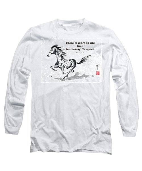 Long Sleeve T-Shirt featuring the painting Escape With Gandhi Quote  by Bill Searle