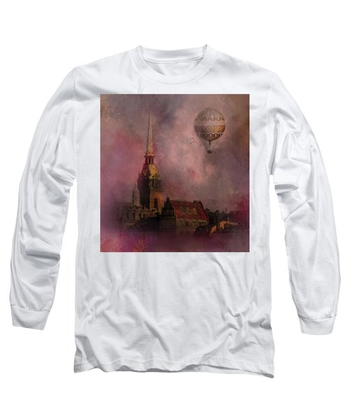 Long Sleeve T-Shirt featuring the digital art Stockholm Church With Flying Balloon by Jeff Burgess