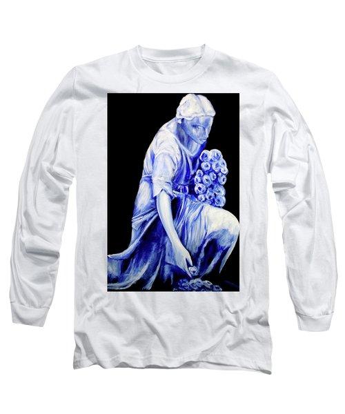 Flower Girl In Blue Long Sleeve T-Shirt