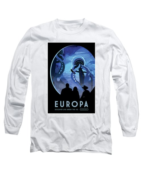 Europa Discover Life Under The Ice - Nasa Vintage Poster Long Sleeve T-Shirt