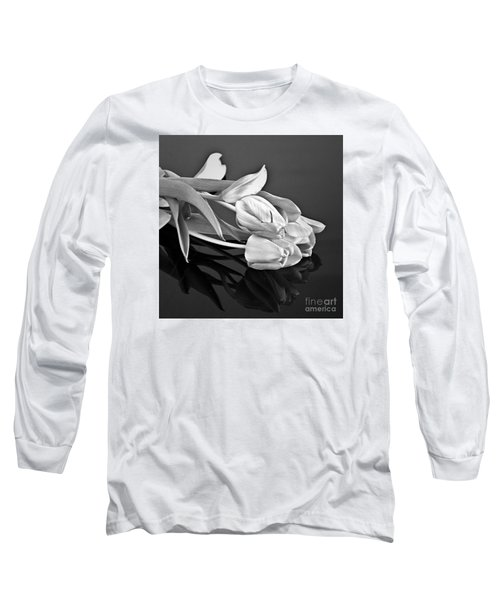 Even Tulips Are Beautiful In Black And White Long Sleeve T-Shirt by Sherry Hallemeier