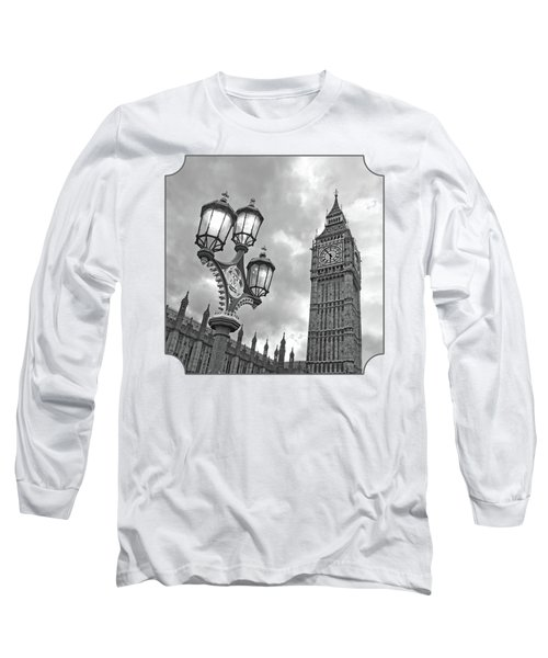 Evening Light At Big Ben In Black And White Long Sleeve T-Shirt by Gill Billington