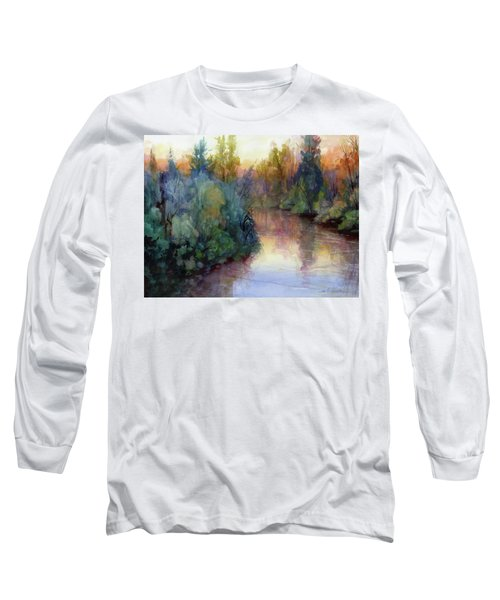 Long Sleeve T-Shirt featuring the painting Evening On The Willamette by Steve Henderson