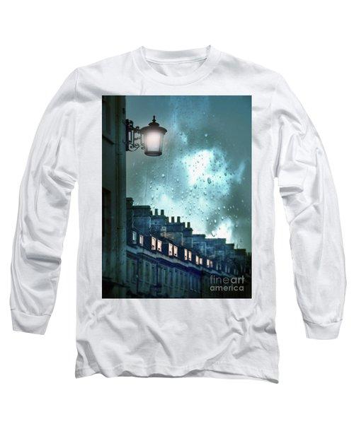 Long Sleeve T-Shirt featuring the photograph Evening Rainstorm In The City by Jill Battaglia