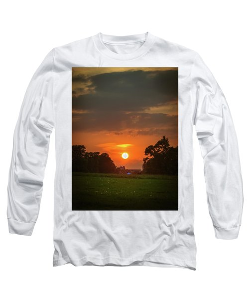 Long Sleeve T-Shirt featuring the photograph Evening Sun Over Picnic by Lenny Carter