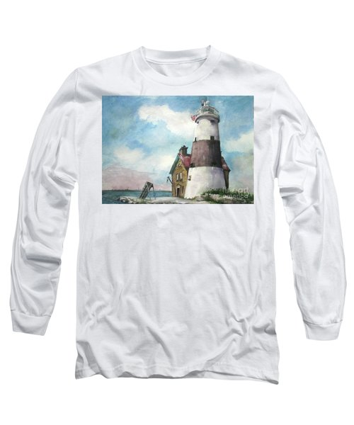 Long Sleeve T-Shirt featuring the painting Execution Rocks Lighthouse by Susan Herbst