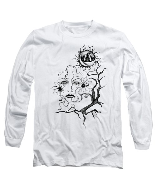 Long Sleeve T-Shirt featuring the drawing Eye Of The Beholder by Shawna Rowe