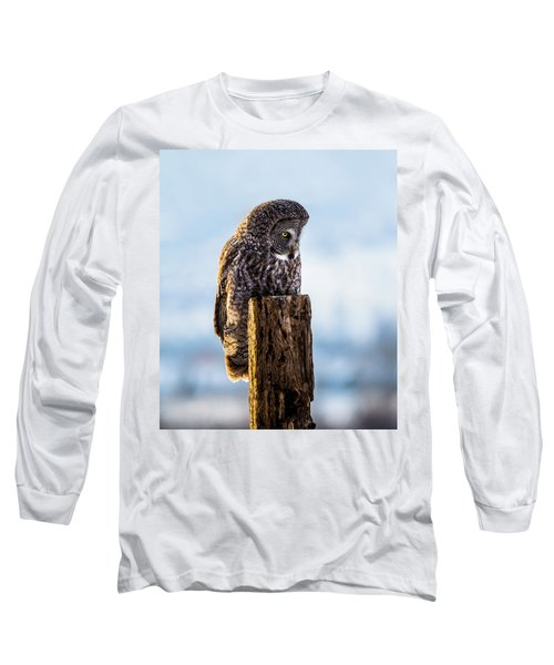 Eye On The Prize - Great Gray Owl Long Sleeve T-Shirt