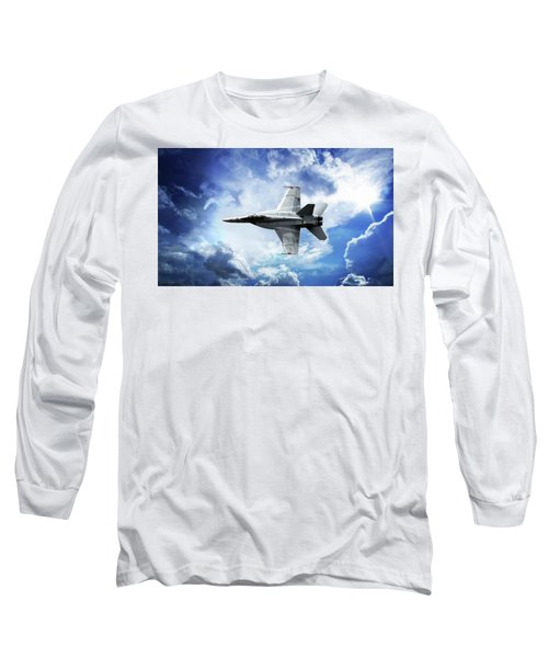 Blue Long Sleeve T-Shirt featuring the photograph F18 Fighter Jet by Aaron Berg