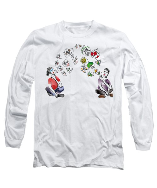 Faces And Forest Bubbles Long Sleeve T-Shirt