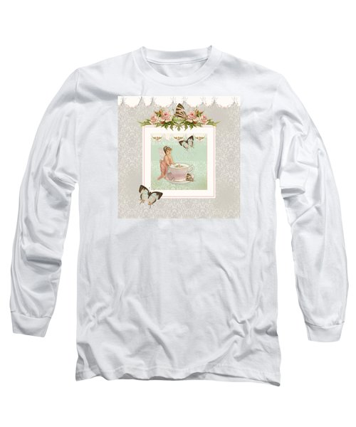Fairy Teacups - Flutterbye Butterflies And English Rose Damask Long Sleeve T-Shirt by Audrey Jeanne Roberts