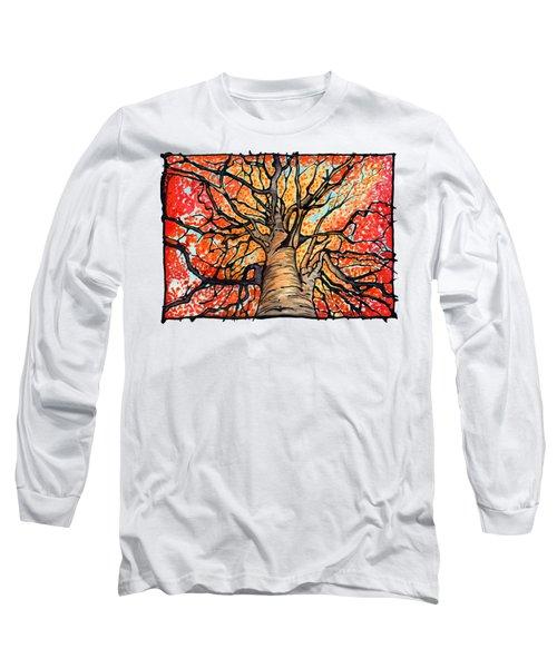 Fall Flush - Looking Up An Autumn Tree Long Sleeve T-Shirt