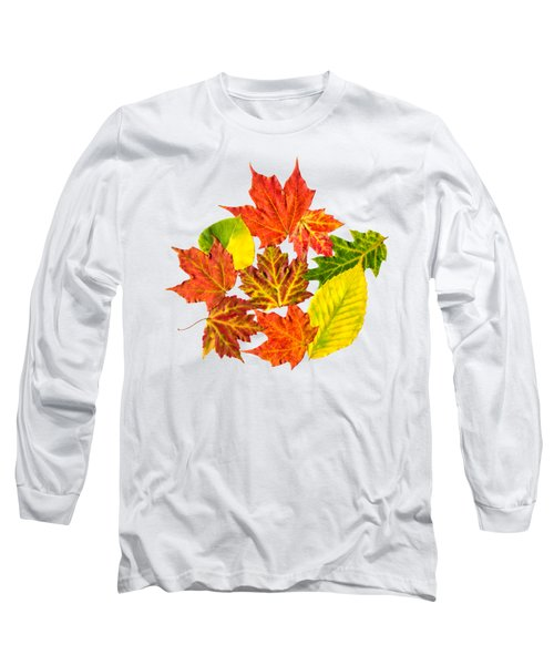 Long Sleeve T-Shirt featuring the mixed media Fall Leaves Pattern by Christina Rollo