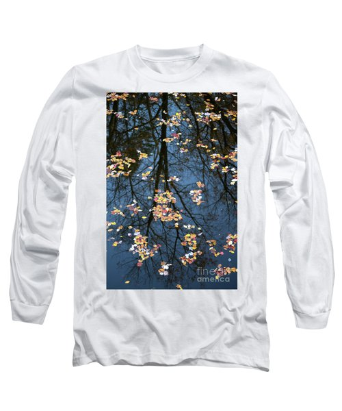 Fallen Leaves In Autumn Lake Long Sleeve T-Shirt