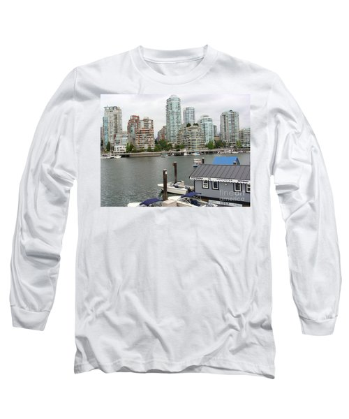 Long Sleeve T-Shirt featuring the painting False Creek Vancouver by Rod Jellison