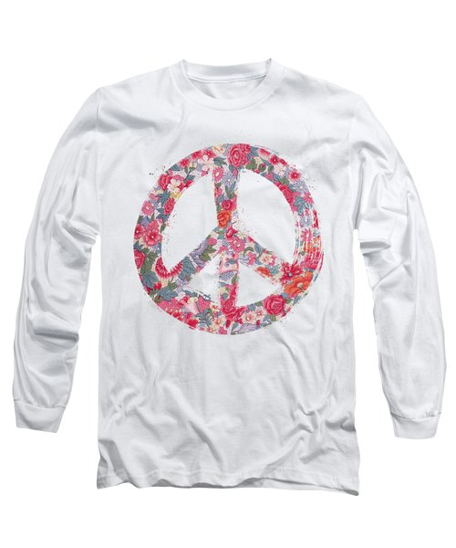 Far Too Pretty Peace Symbol #1 Long Sleeve T-Shirt by Nola Lee Kelsey