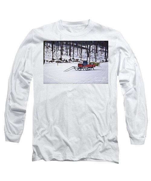 Farm Sleigh Long Sleeve T-Shirt by Nicki McManus