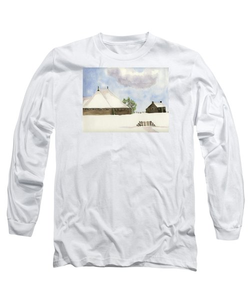 Long Sleeve T-Shirt featuring the painting Farmhouse In The Snow by Annemeet Hasidi- van der Leij