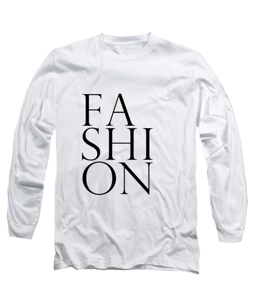 Fashion - Typography Minimalist Print - Black And White 01 Long Sleeve T-Shirt