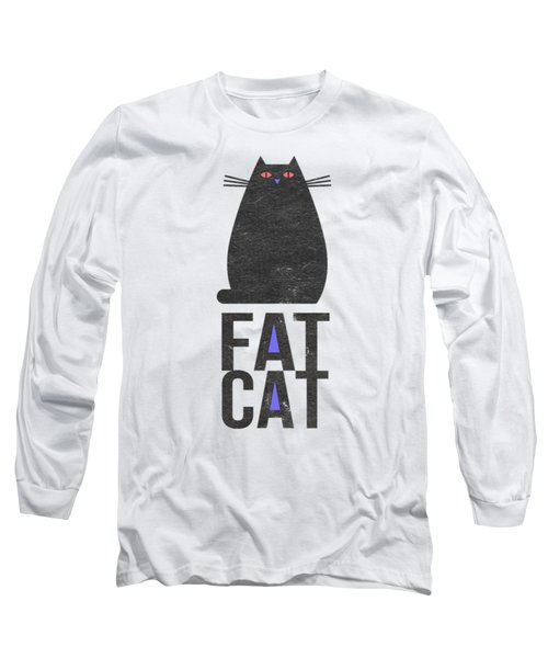 Long Sleeve T-Shirt featuring the drawing Fat Cat by Edward Fielding