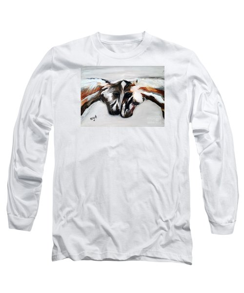 Long Sleeve T-Shirt featuring the painting Father And Daughter - Find All The Animals Inside by Barbie Batson