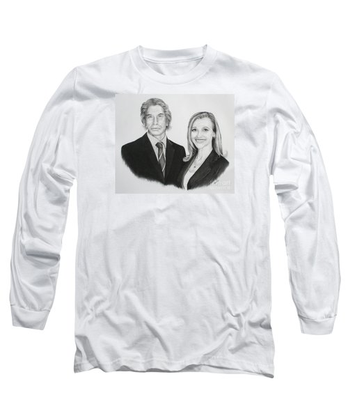 Long Sleeve T-Shirt featuring the drawing Father And Daughter by Mike Ivey