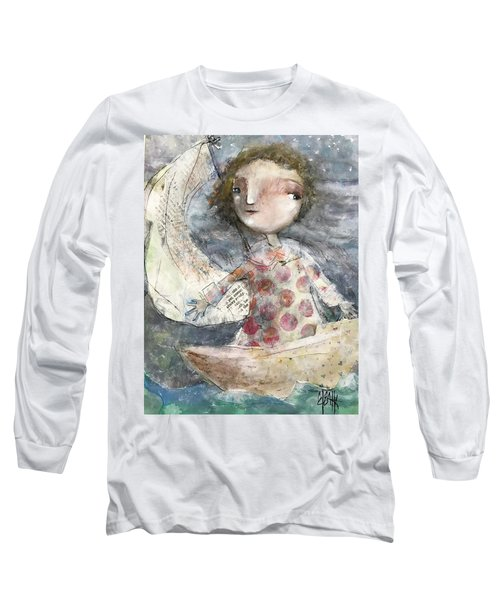 Long Sleeve T-Shirt featuring the mixed media Fearless by Eleatta Diver