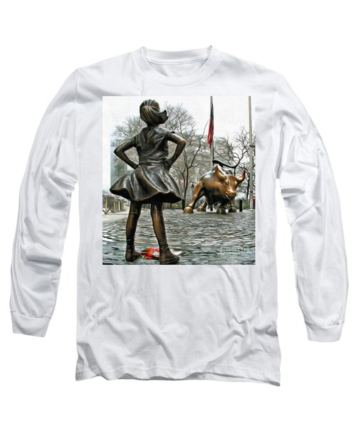 Fearless Girl And Wall Street Bull Statues 5 Long Sleeve T-Shirt