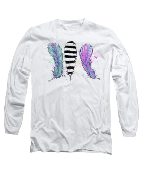 Long Sleeve T-Shirt featuring the digital art Feathers by Lizzy Love
