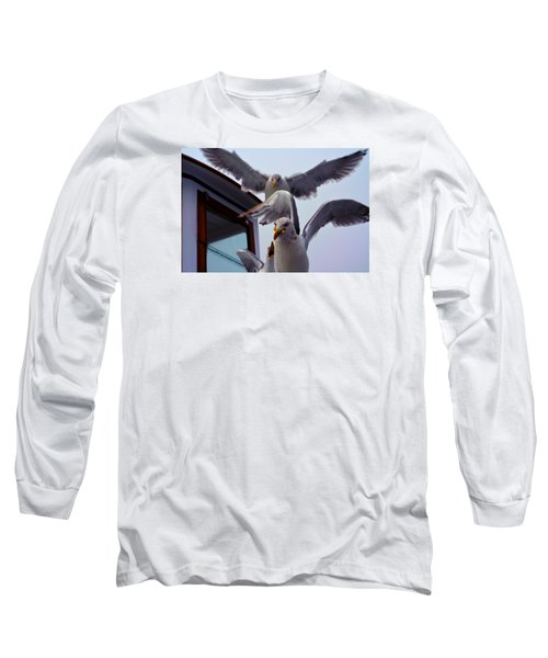 Feeding Frenzy Long Sleeve T-Shirt by Richard Ortolano