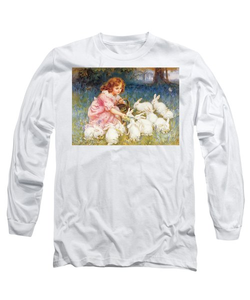 Feeding The Rabbits Long Sleeve T-Shirt by Frederick Morgan