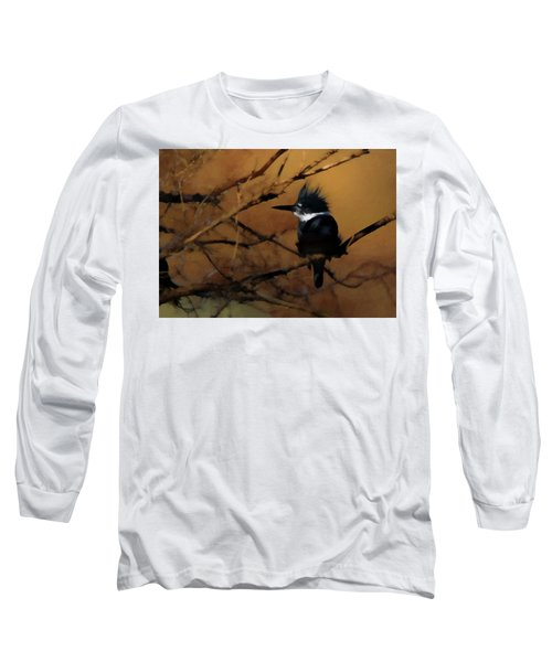 Long Sleeve T-Shirt featuring the digital art Female Belted Kingfisher 2 by Ernie Echols