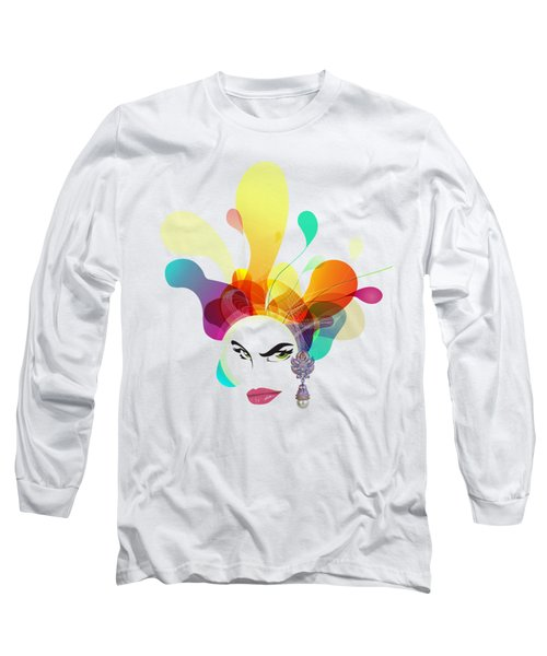 Female Face Abstract Long Sleeve T-Shirt
