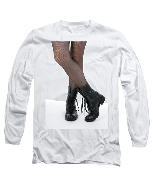 Female Legs In Pantyhose And Black Boots Long Sleeve T-Shirt