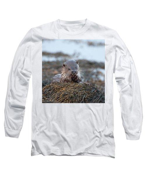 Female Otter Eating Long Sleeve T-Shirt