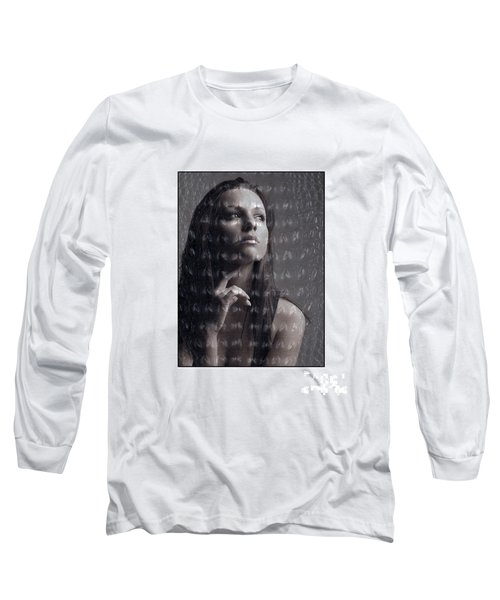 Female Portrait With Reptile Texture Long Sleeve T-Shirt by Michael Edwards