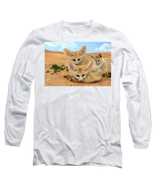 Long Sleeve T-Shirt featuring the digital art Fennec Foxes by Thanh Thuy Nguyen