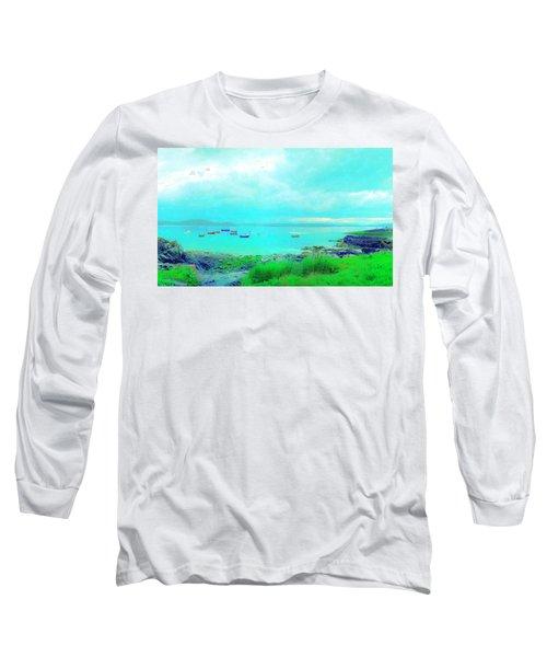 Ferry Wake Long Sleeve T-Shirt by Jan W Faul