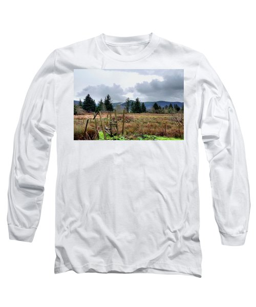 Field, Clouds, Distant Foggy Hills Long Sleeve T-Shirt