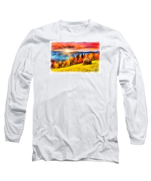 Field Of Autumn Haze Painting Long Sleeve T-Shirt