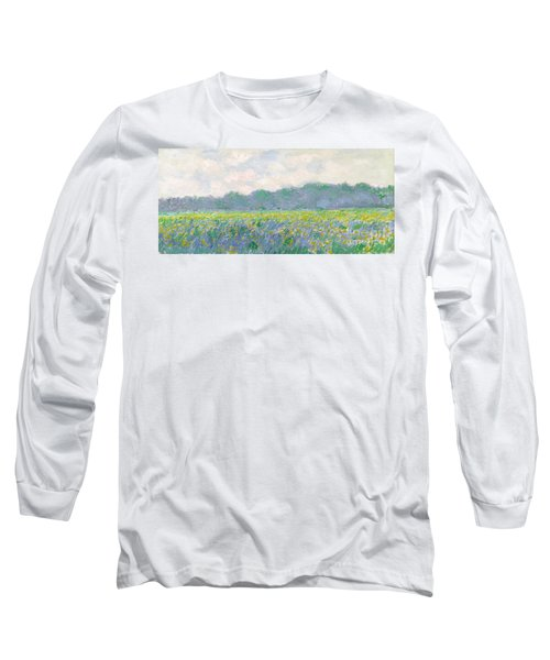 Field Of Yellow Irises At Giverny Long Sleeve T-Shirt